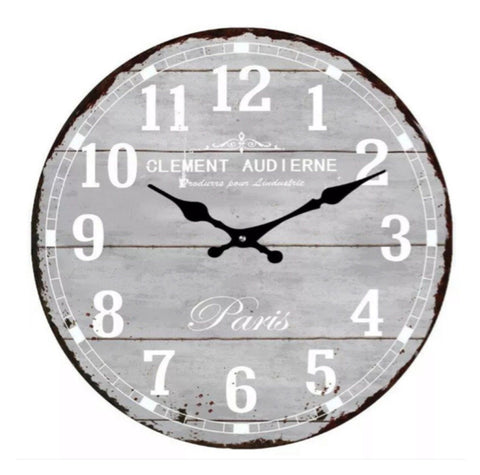 Clock Wall Antique Paris Grey