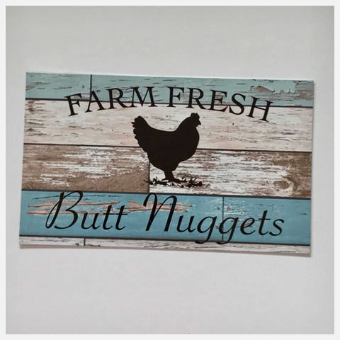 Farm Fresh Butt Nuggets Eggs Chicken Sign Wall Plaque or Hanging Blue Plaques & Signs The Renmy Store