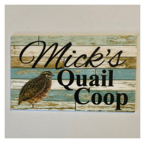 Quail Coop Custom Personalised Name Blue Sign | The Renmy Store