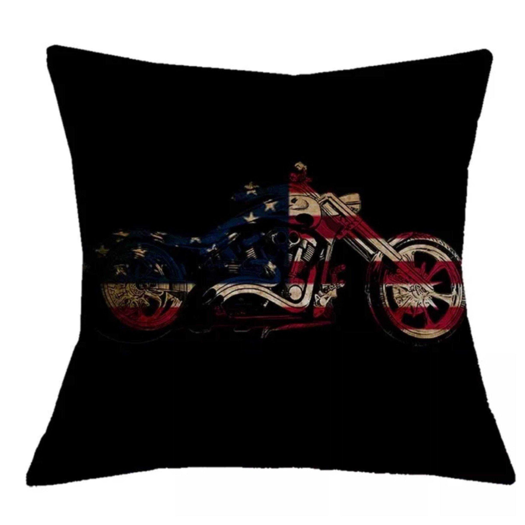 Cushion Pillow Motorbike Motorcycle American Flag Man Shed - The Renmy Store