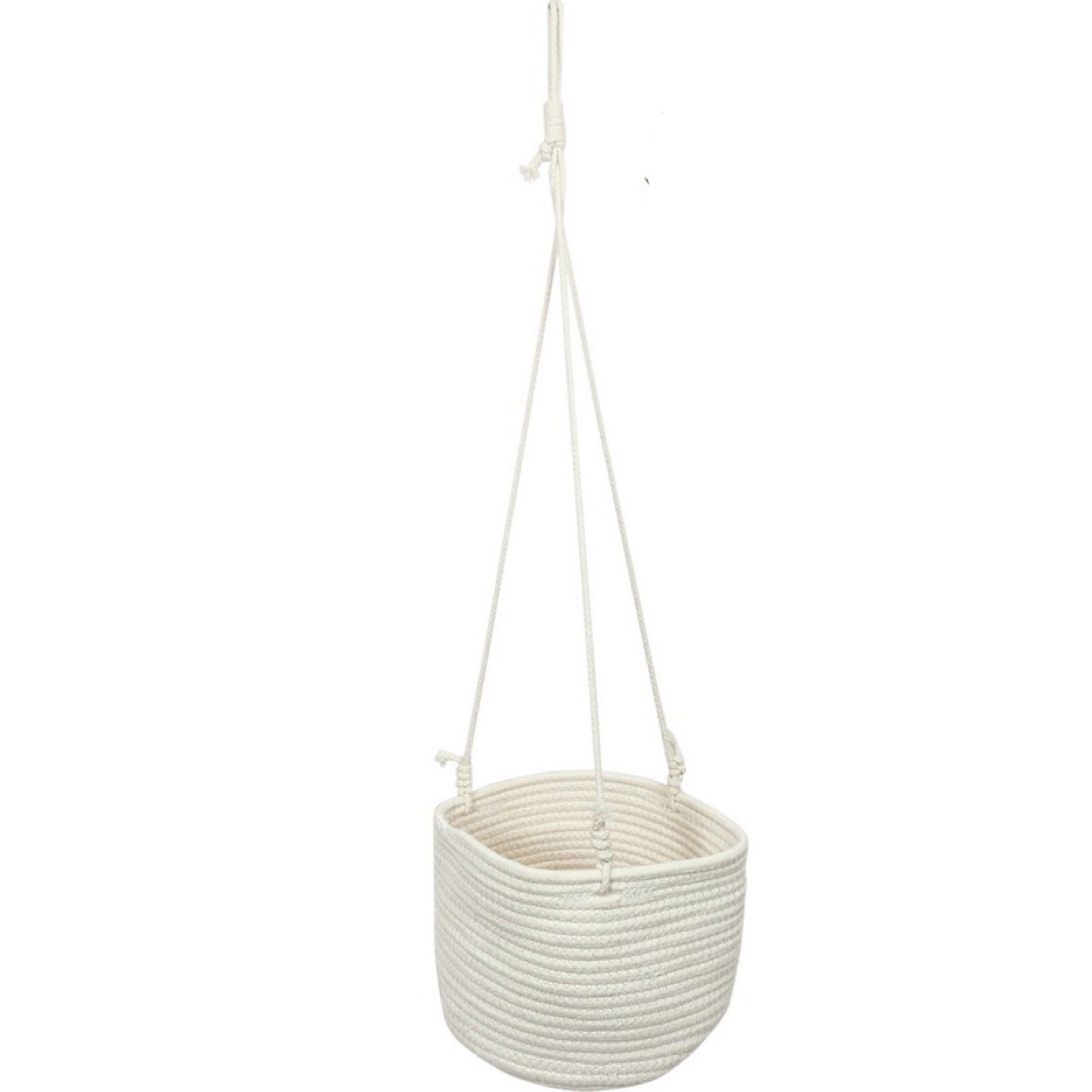 Pot Hanging Garden Plant White Basket