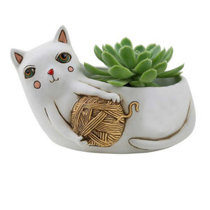 Cat Funky Yarn White Plant Pot | The Renmy Store