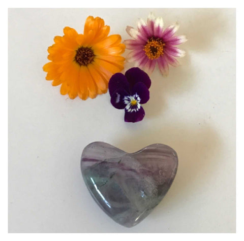Crystal Fluorite Heart Green Purple