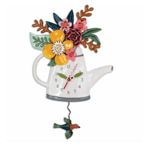 Clock Wall Tea Bird Blossoms Vintage Funky Retro | The Renmy Store