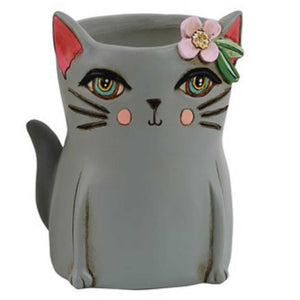 Cat Kitty Grey Pot Plant or Pen Holder | The Renmy Store