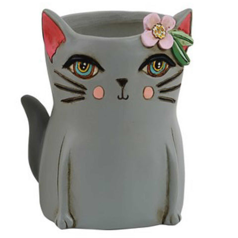 Cat Kitty Grey Pot Plant or Pen Holder