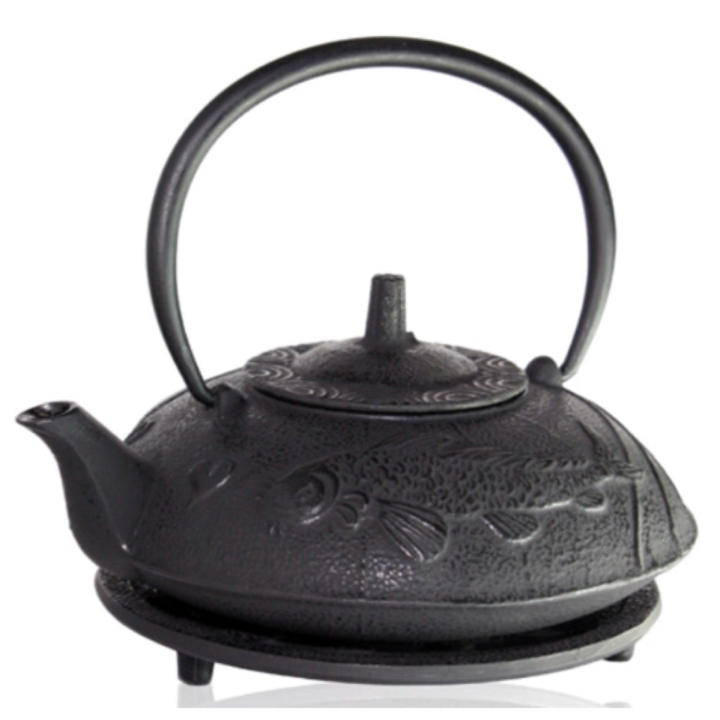 Cast Iron Black Fish Teapot 700ml Antique - Tea - - The Renmy Store