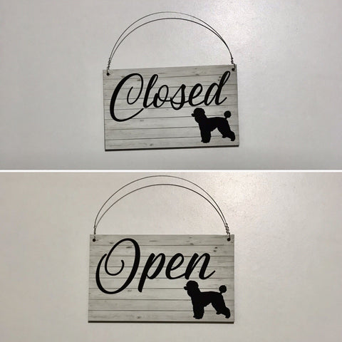 Poodle French Open Closed Business Shop Cafe Dog Hanging Sign Timber Look - The Renmy Store