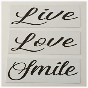 Live Love Smile Set of 3 White Sign Wall Plaque or Hanging Plaques & Signs The Renmy Store