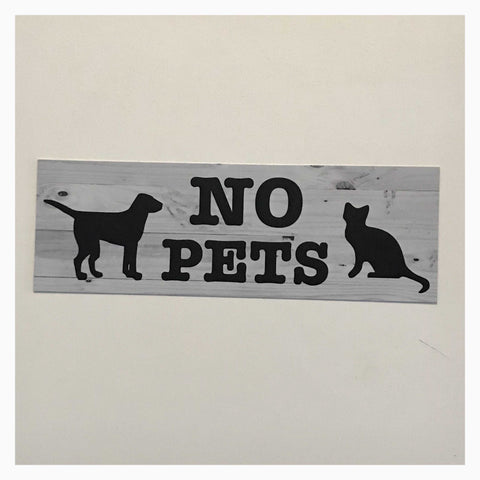 No Pets Cat Dog Sign Hanging or Wall Plaque Pet - The Renmy Store