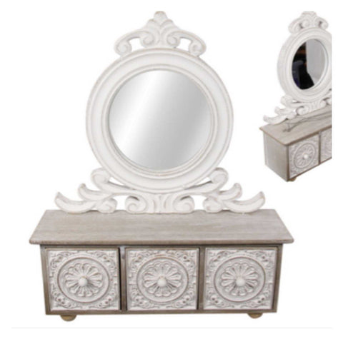 Cabinet Draw French White with Mirror | The Renmy Store