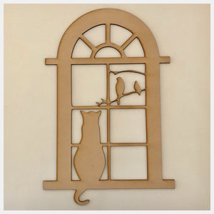 Window with Birds & Cat MDF Shape DIY Raw Cut Out Art Craft Decor - The Renmy Store