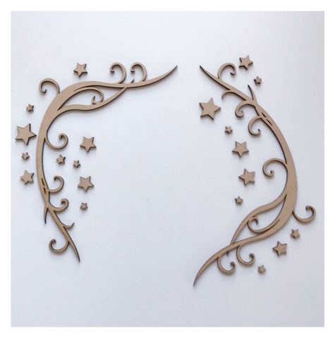 Decorative Scroll with Stars Border MDF Wooden