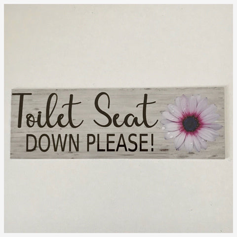 Toilet Seat Down Please with Flower Sign Wall Plaque or Hanging - The Renmy Store