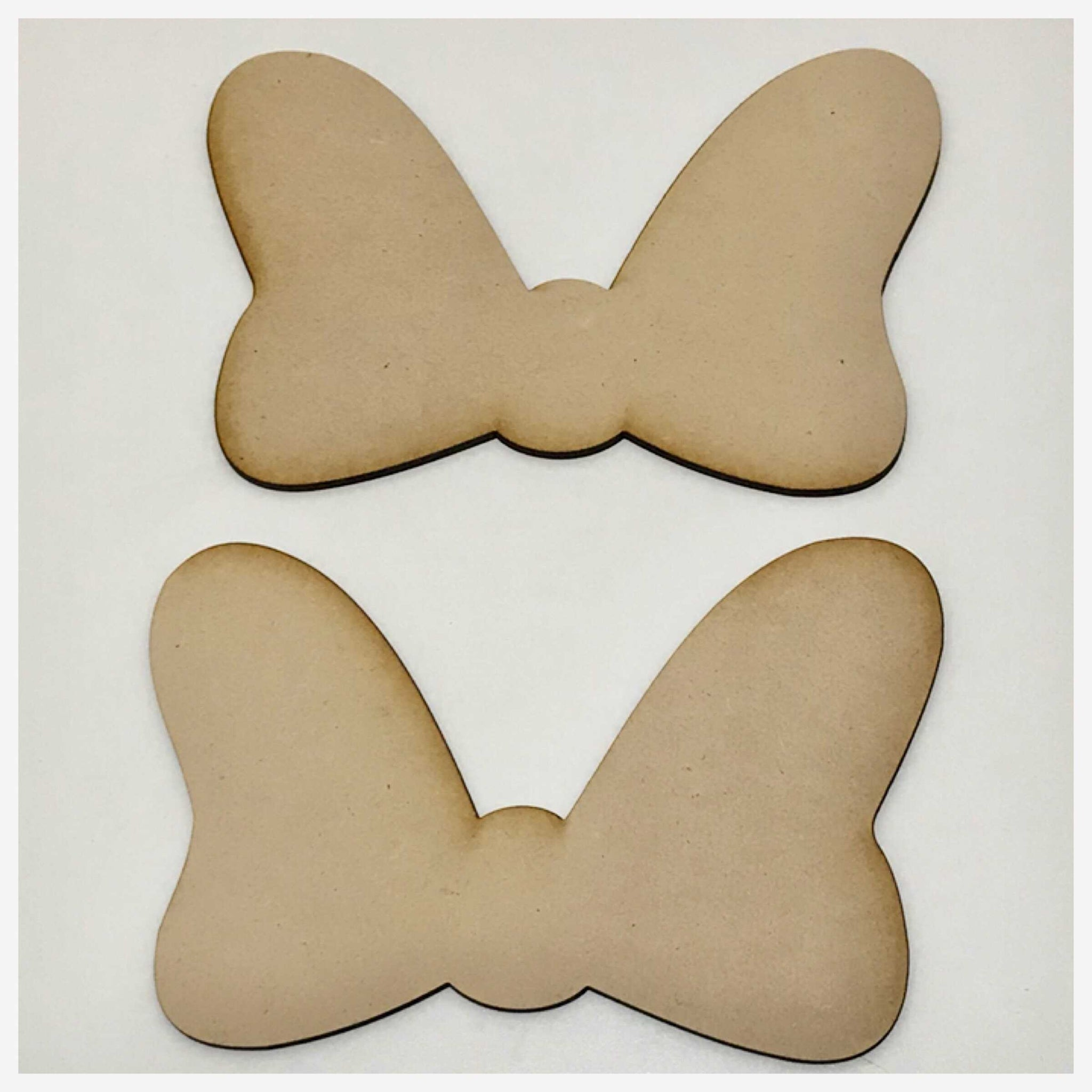 Bow Set Of Two MDF Shape Raw Cut Out Art | The Renmy Store