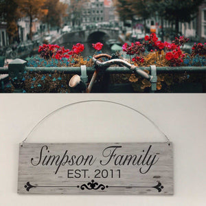 Custom Your Family Name and Year Vintage Sign