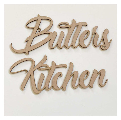Butlers Kitchen Word Door Wall Art DIY Raw MDF Timber Wood | The Renmy Store