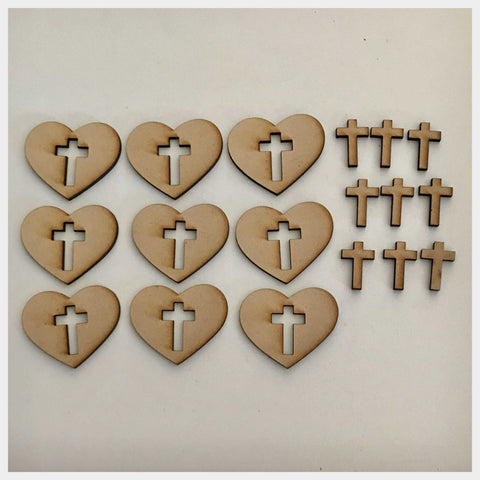 Heart & Cross Set of 18 MDF Shape DIY Raw Cut Out Art Craft Decor - The Renmy Store