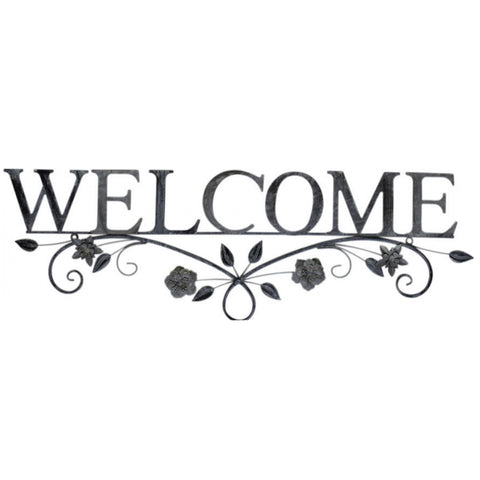 Welcome Metal Decorative Floral Sign