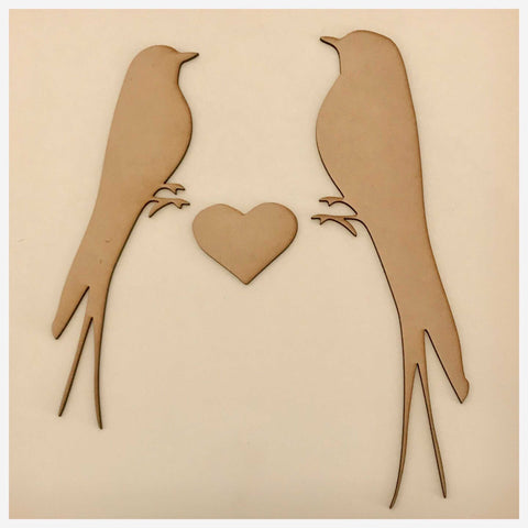 Bird Set with Heart Wooden Raw MDF DIY Craft | The Renmy Store