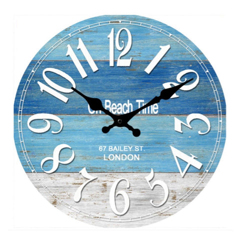 Clock On Beach Time