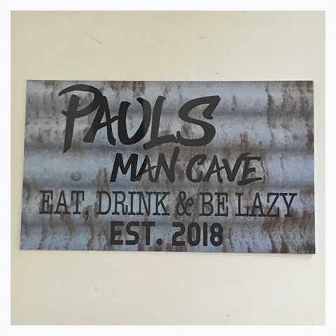 Man Cave Est. Name Custom Shed Sign Wall Plaque or Hanging - The Renmy Store