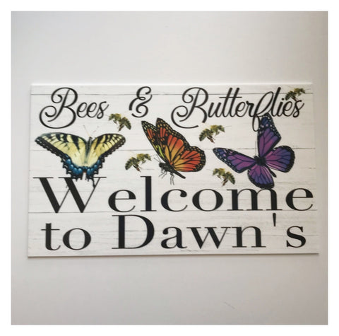 Welcome To Your Name Custom Bees & Butterflies Sign - The Renmy Store