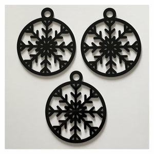 Snowflake B Decoration Hanging Set Of 3 Black Plastic Acrylic Country Decor Garden - The Renmy Store