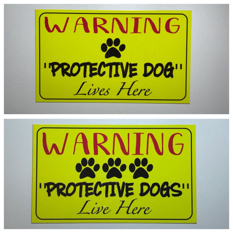 Warning Protective Dogs or Dog Live Here Sign Plaque Or Hanging - The Renmy Store