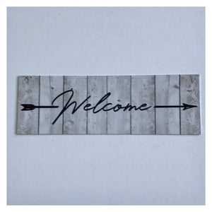 Welcome White Wash Timber Style with Arrow Sign Wall Plaque or Hanging