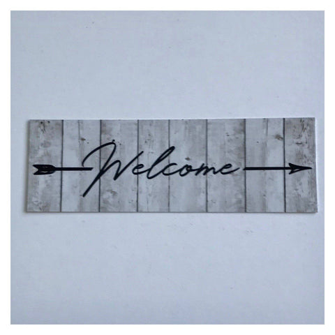 Welcome White Wash Timber Style with Arrow Sign Wall Plaque or Hanging - The Renmy Store
