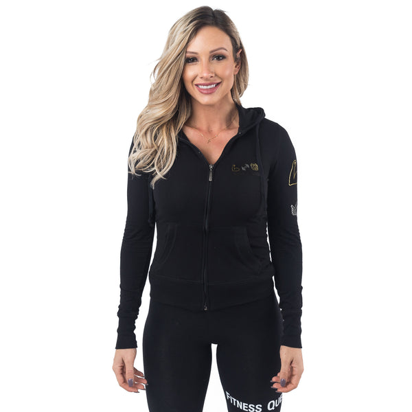 Fitness Queen Zip-Up Hoodie - Black