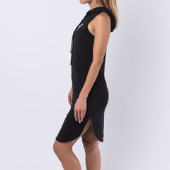 Slay Hooded Sleeveless Dress - Black