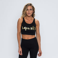 Squats Crop Tank - Black/Gold