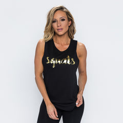 Squats Flowy Scoop Muscle Tank - Black/Gold