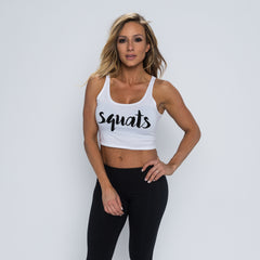 Squats Crop Tank - White