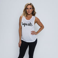 Squats Flowy Scoop Muscle Tank - White