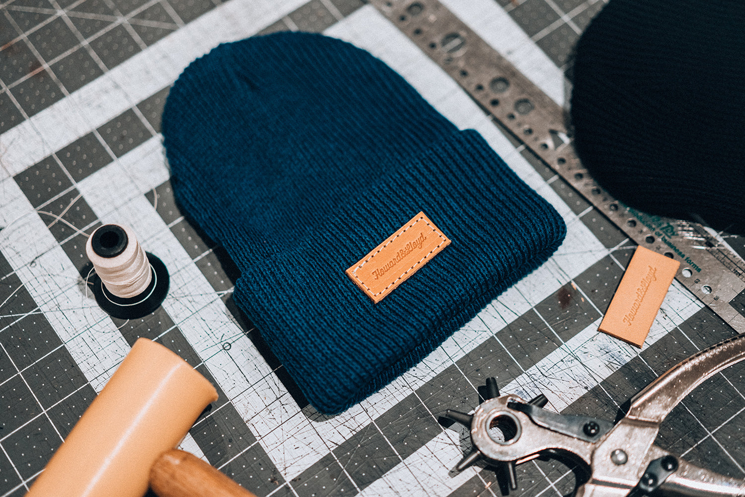 Leather Patch Beanie - Blue