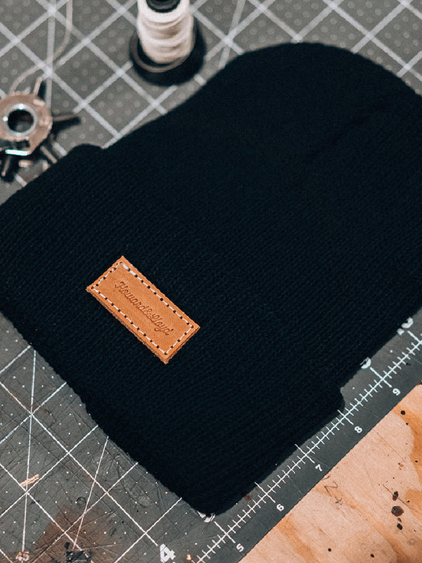 Leather Patch Beanie - Black