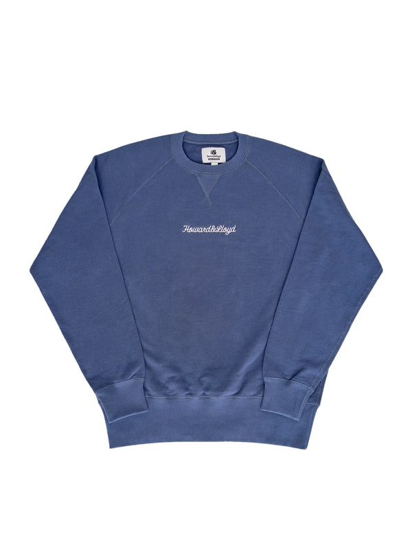 Washed Blue Yardstick Crewneck