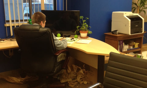 Morgan Culbertson working at a desk in the Hyliion offices