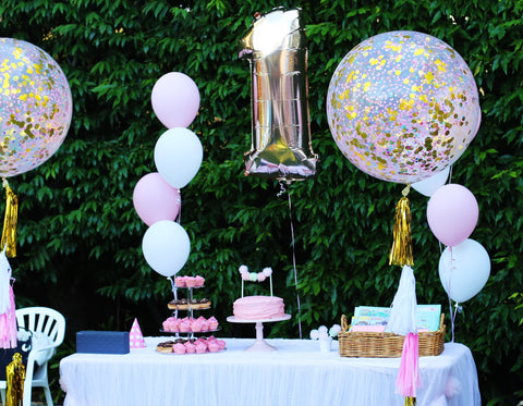 2ft Confetti Balloon and Rose Gold Number Shape Foil Balloon