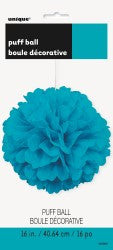 Decorative Paper Puff Ball - Teal