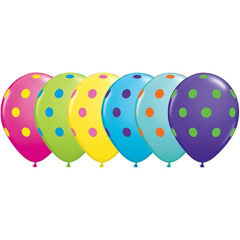 "11"" Qualatex Polka Dots Assorted Colour Latex Balloon"