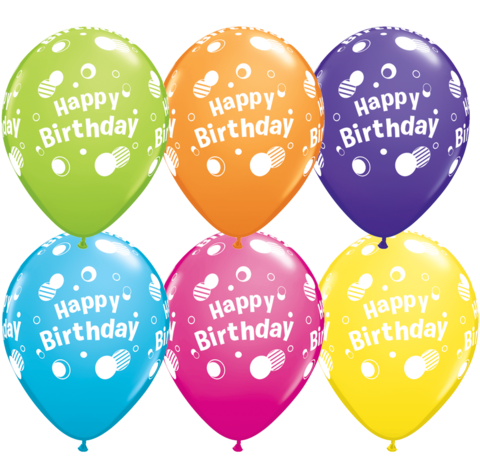 "Copy of 11"" Bday  Printed Latex Balloon - 6 Pack"
