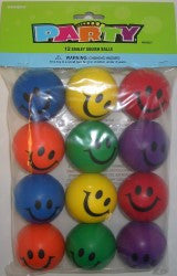 12Pk Smiley Face Squishy Ball