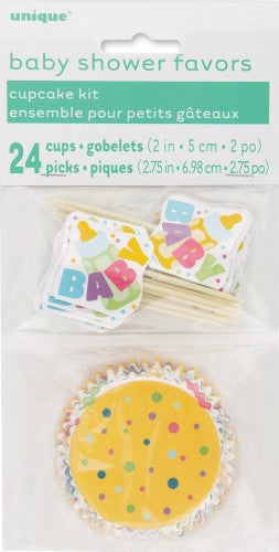 Baby Shower Cupcake Kit (Blue, Pink, Yellow),Accessories - Everything Party