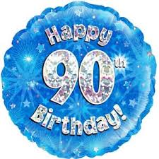 90th birthday holographic balloon