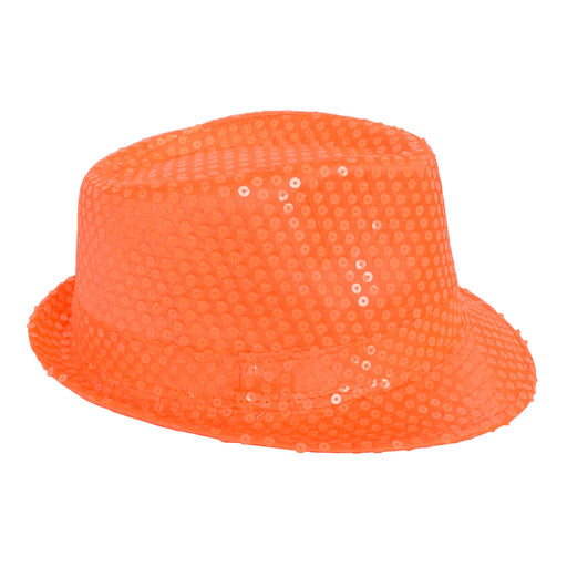 neon orange sequin fedora