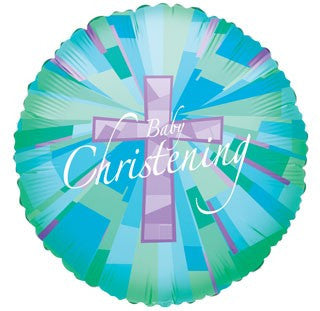 "18"" Baby Christening green holographic Foil"